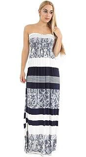 Womens Printed Sheering Boobtube Maxi Ladies Bandeau Ruched Fancy Long Dress