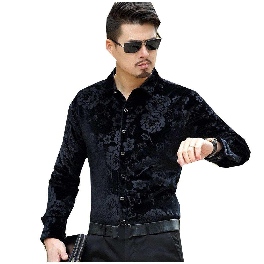 YUNY Mens Long-Sleeve Slim Button Up Leisure Thick Velvet Western Shirt AS1 M