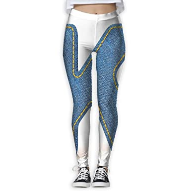 86c5354b41 Luomendi Yoga Pants Denim Style Blue Jean Texture Capitalized Character K - High  Waisted Workout Leggings