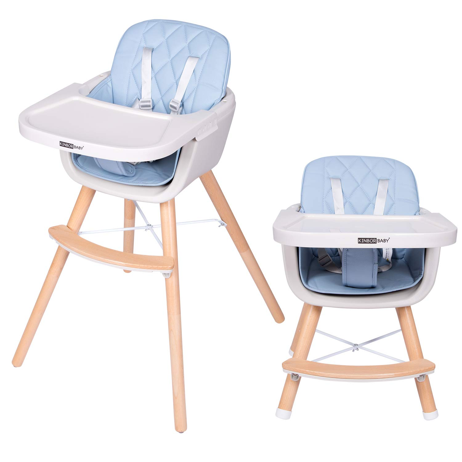 Kinbor Baby Wooden High Chair Toddlers 3 in 1 Convertible Baby Highchair Solution for Babies and Infants with Cushion Removable Tray and Adjustable Legs