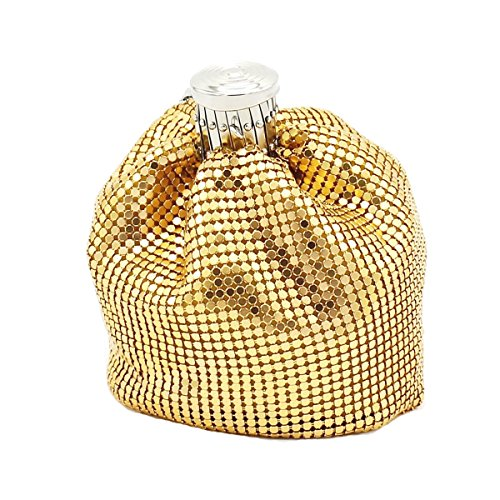 Mini Sequins Bottle Shape Crossbody Bag Novelty Coin Purse with Chain Strap (Gold)