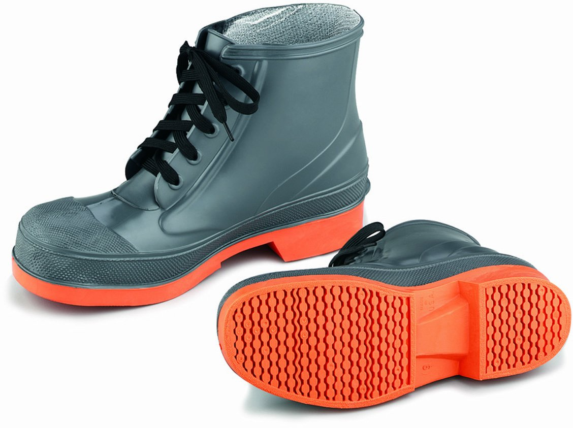 ONGUARD 87981 PVC/Nitrile Sureflex Men's Steel Toe WorkShoe with Saftey-Loc Outsole, Grey/Orange, Size 10