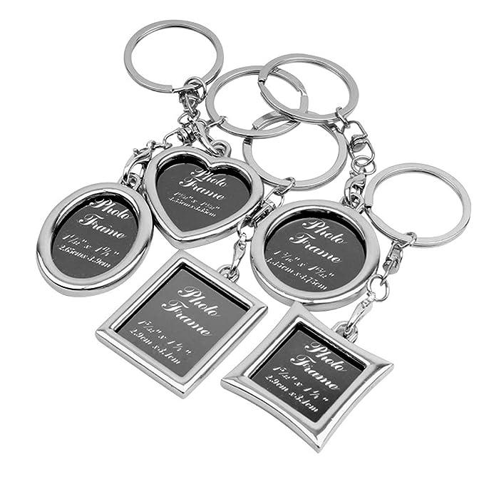 FENICAL 5pcs llavero personalizado foto marco parejas coche llavero creativo regalo clave (plata, 5 estilos)