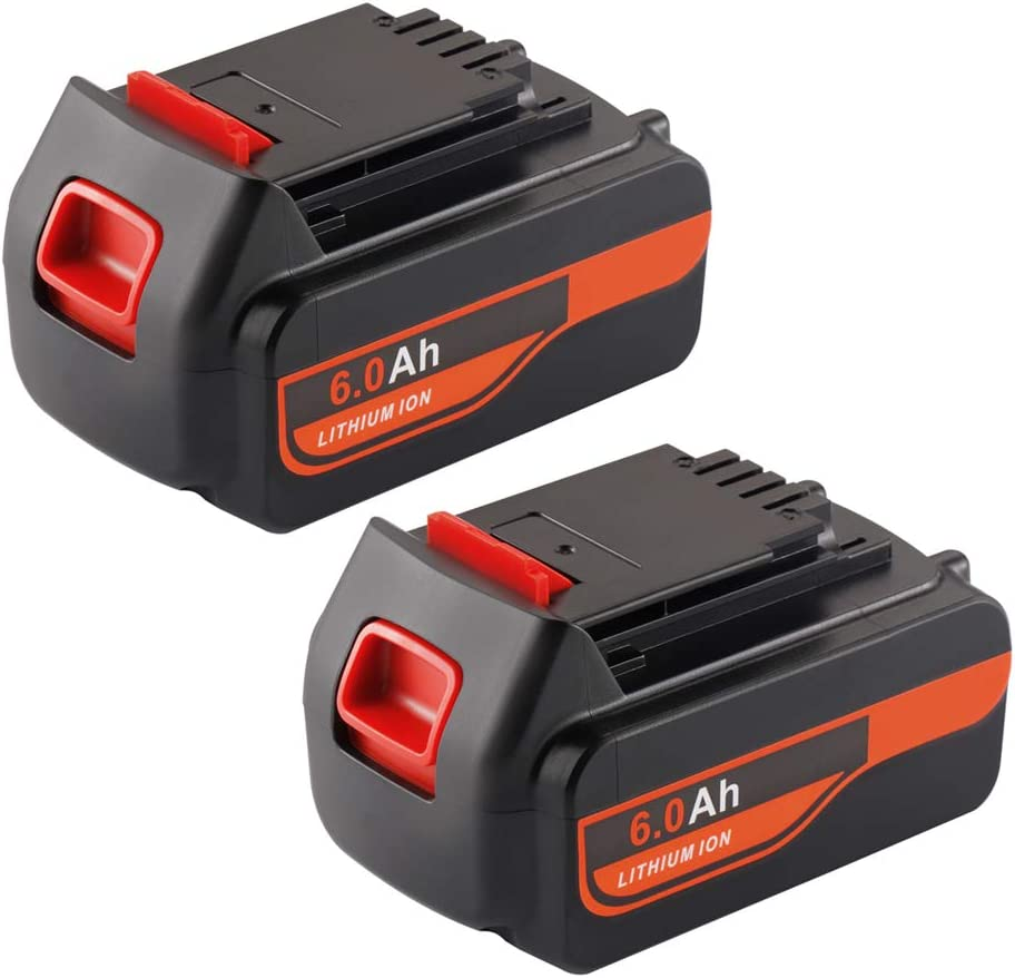 2-Pack Jialitt LBX20 6.0Ah Replacement Battery for Black and Decker 20V Lithium Battery Max 20 Volt LB20 LBXR20-OPE LCS20 LBX4020 LB2X4020-OPE Black and Decker Battery