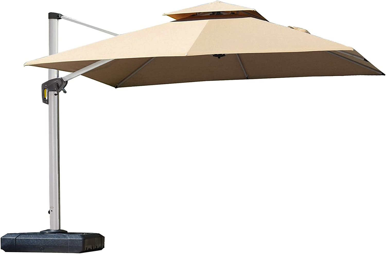PURPLE LEAF Paraguas cuadrado de doble parte superior para patio, paraguas para colgar al aire libre, paraguas de jardín