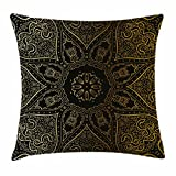 Ambesonne Mandala Throw Pillow Cushion Cover by, Large Asian Flower Spiritual Harmony Theme Arabian Artistic Elements, Decorative Square Accent Pillow Case, 18 X 18 Inches, Black Yellow Pale Yellow