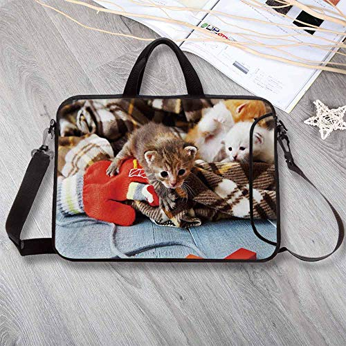"""Cats Stylish Neoprene Laptop Bag,Kittens and Mittens Newborns Baby Animals in an Plain Blanket Wood Play Toys Adorable Laptop Bag for Business Casual or School,12.6""""L x 9.4""""W x 0.8""""H"""