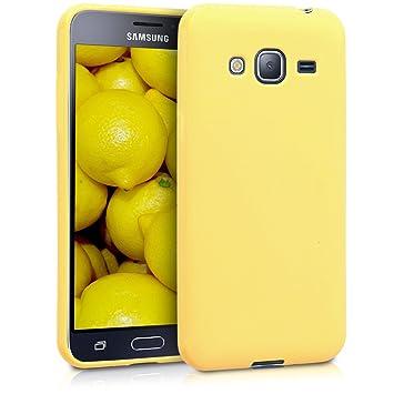 kwmobile Funda para Samsung Galaxy J3 (2016) DUOS - Carcasa para móvil en [TPU Silicona] - Protector [Trasero] en [Amarillo Mate]