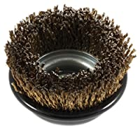 Forney 72874 Wire Cup Brush, Industrial Pro Cable Crimped with 5/8-Inch-11 and M14-by-2.0 Multi Arbor, 3-Inch-by-.009-Inch