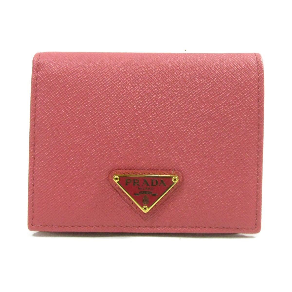 [プラダ] PRADA 二つ折財布 財布 ピンク レザー 1MV204 [中古] B07RFVVXKH