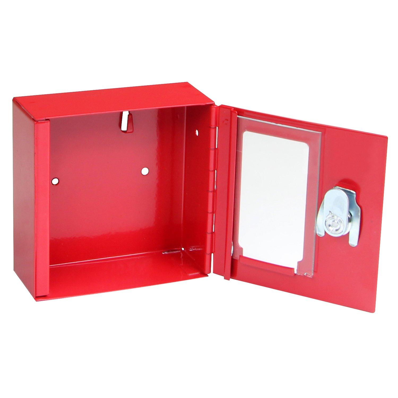 FELGNER Notschlü sselkasten TS 1010 - rot - Notschlü sselbox mit Glasscheibe - 100x100x40mm - inkl. 2 Schlü ssel - zur Wandmontage