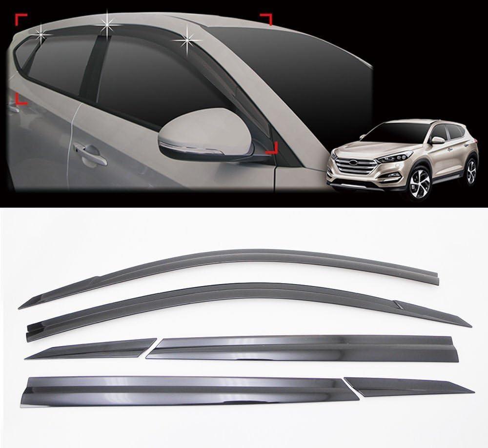 AutoClover D054 Smoke Window Shield Sun Visor Vent Wind Rain 6-pcs 1Set For 2016 Hyundai Tucson ALL NEW TUCSON