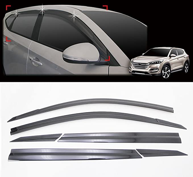 Car Accessories Goodyear Side Window Deflectors for Hyundai Tucson 2016-2020 Vent Deflector Vent Visor 4 pcs- GY003130LP Window Visors for Cars Tape-on Rain Guards