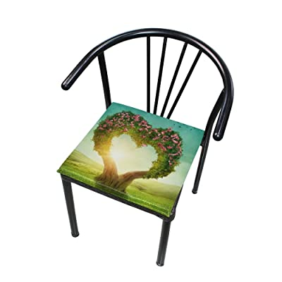 """Bardic HNTGHX Outdoor/Indoor Chair Cushion Sunset Love Heart Tree Square Memory Foam Seat Pads Cushion for Patio Dining, 16"""" x 16"""": Home & Kitchen"""