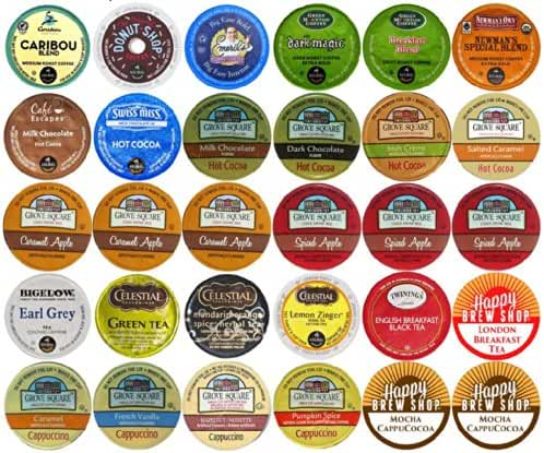 30-count Top Brand Coffee, Tea, Cider, Hot Cocoa and Cappuccino K-Cup Variety Sampler Pack, Single-Serve Cups for Keurig Brewers
