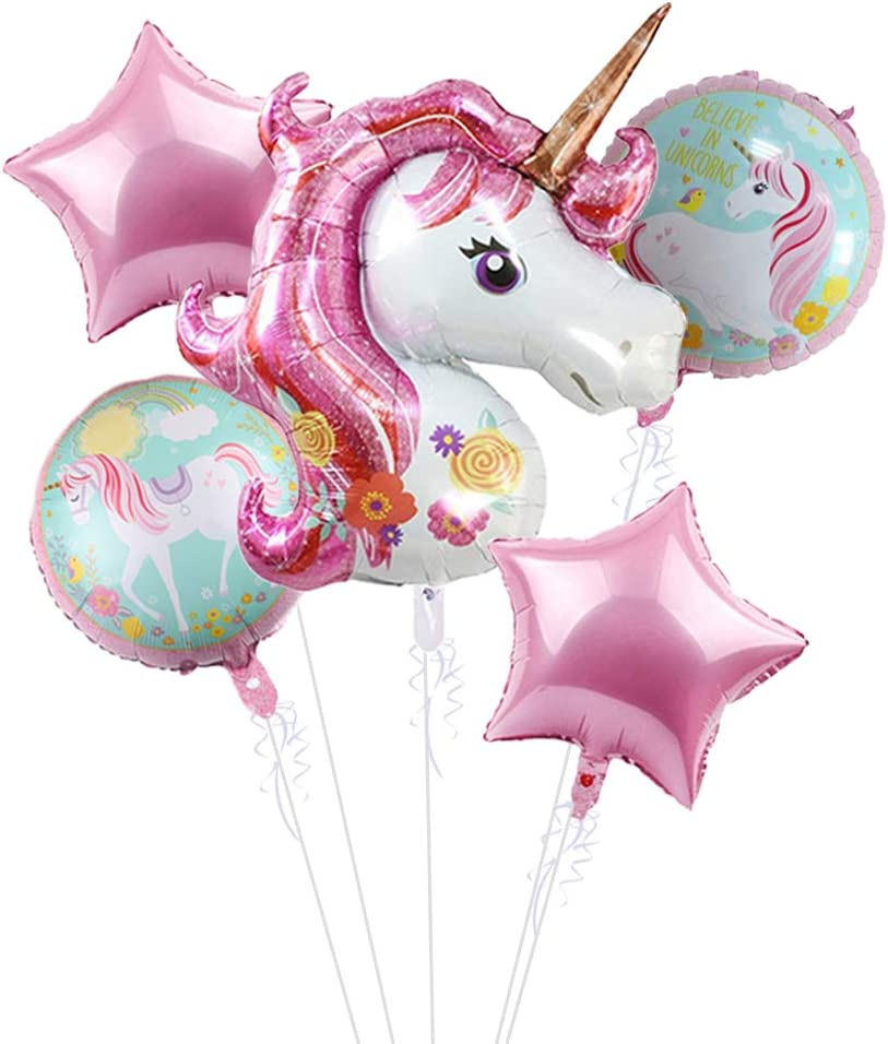"""5Pcs Large Unicorn Balloons Birthday Party Decorations, 43"""" Pink Unicorn Mylar Balloon for Unicorn Theme Party Supplies, Baby Shower, Home Office Decor, Birthday Backdrop"""