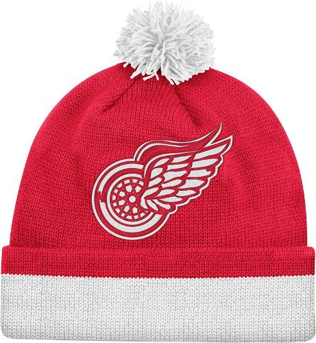 Mitchell & Ness NHL Detroit Red Wings Red Vintage Jersey Stripe Cuffed Knit Beanie