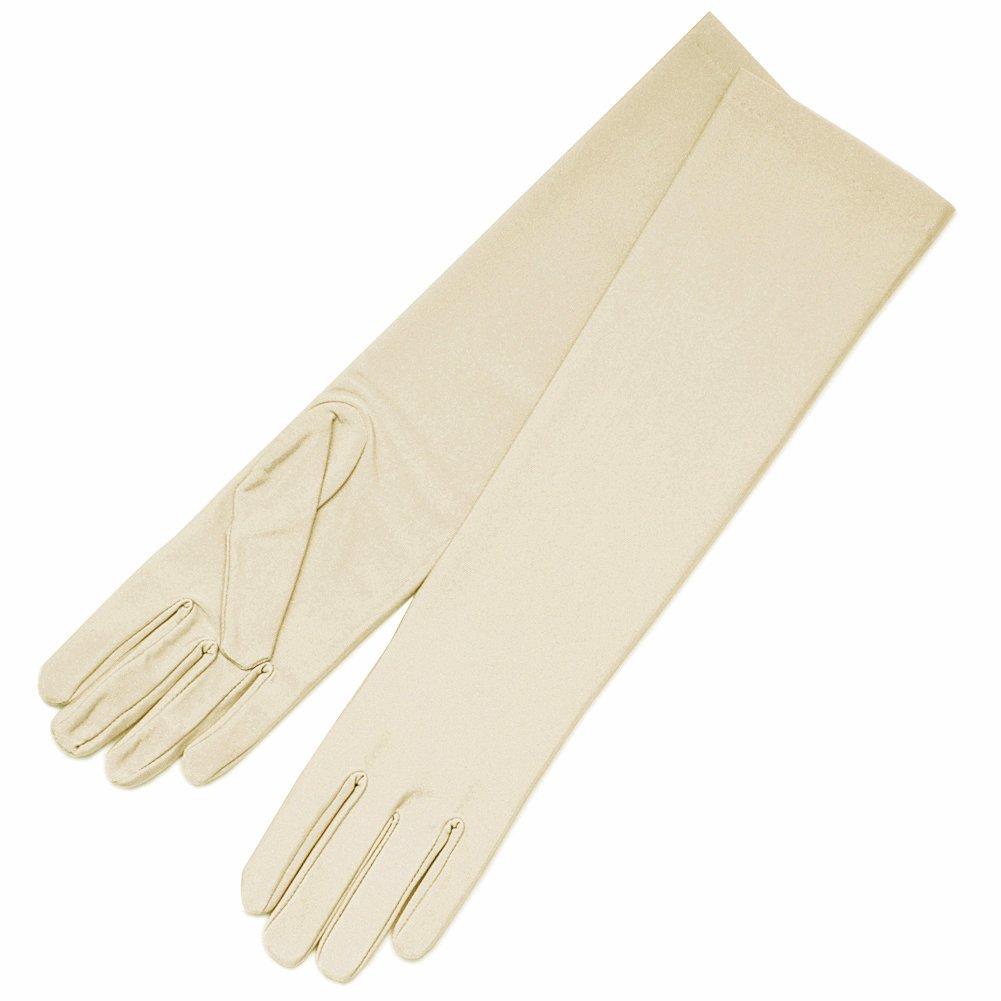 ZaZa Bridal 4-Way Stretch Matte Finish Satin Dress Gloves Below-The-Elbow Length-Dark Ivory