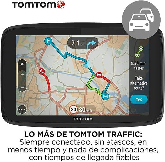 TomTom GPS para coche GO Essential, 6 pulgadas, con tráfico y prueba de radares gracias a TomTom Traffic, mapas de la UE, actualizaciones a través de WiFi, llamadas manos libres, soporte Click-Drive: