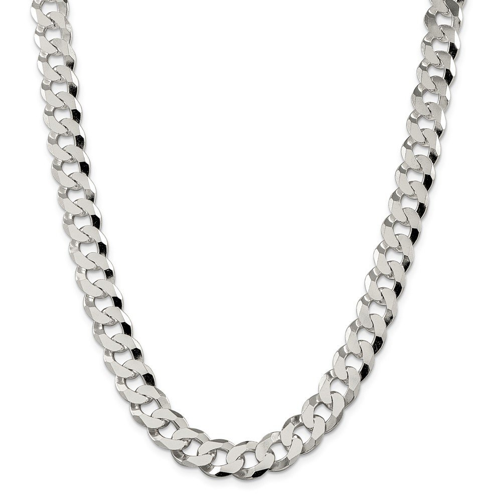 Sterling Silver 12.30mm Beveled Curb Chain Necklace or Bracelet QFB300