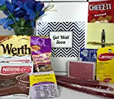 Get Well Gift Box Basket - For Surgery/Injury/Cold/Flu/Illness - Over 2 Pounds of Care, Concern, and Love - Great Care Package - Send a Smile Today!