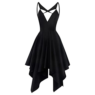 31a1c3617108 Women Backless Rosetic Gothic Asymmetrical Slim Black Summer Party Sex Goth  Mini Dress at Amazon Women s Clothing store