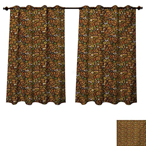 RuppertTextile German Blackout Curtains Panels for Bedroom Cartoon Style Cute Deutschland Pattern with Flag Hops and Pretzels Hand Drawn Doodle Decor Curtains Multicolor W55 x L72 inch (Versace Deutschland)