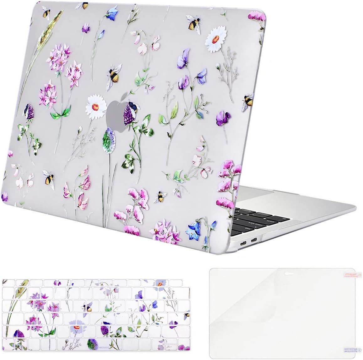 MOSISO Compatible with MacBook Air 13 inch Case 2020 2019 2018 Release A2337 M1 A2179 A1932 Retina Display Touch ID, Plastic Pattern Hard Case & Keyboard Cover & Screen Protector, Crystal Bee & Floral