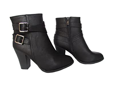 Casca-1 Womens Leatherette Criss Cross Strap Buckle Ankle High Stacked Heel Fashion Bootie Black