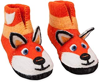 product image for Magic Cabin Handcrafted Fair Trade Felted Wool Animal Slippers for Kids - Suede Soles - Large (3-5) - Fox