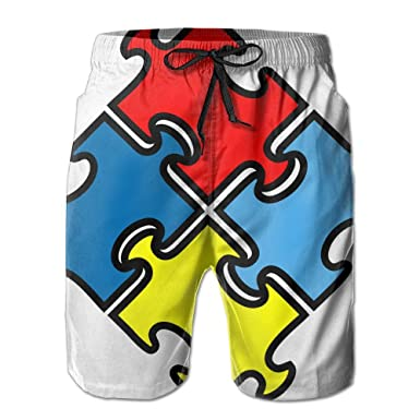 MIPU SHANGMAO Mens Autism Puzzle Summer Beach Shorts Leisure Quick Dry Swimming Pants