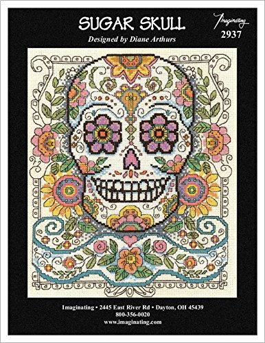 Sugar Skull (Model 2937) Cross Stitch Kit and Free Halloween Embellishment