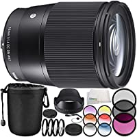 Sigma 16mm f/1.4 DC DN Contemporary Lens for Sony E 10PC Accessory Bundle – Includes Manufacturer Accessories + 3PC Filter Kit (UV + CPL + FLD) + MORE