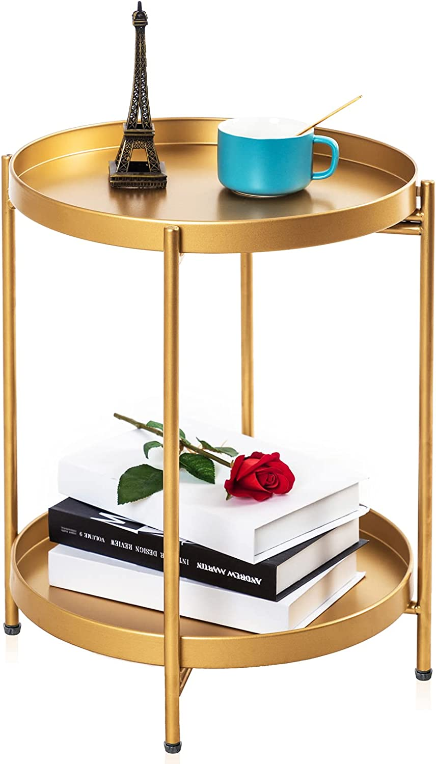 Sankell Gold End Table, 2-Tier Round Metal Side Table Removable Tray, Small Accent Table/Nightstand, Circle Coffee Table Indoor/Outdoor, Sofa Side Snack Table, Boho Side Table for Living Room Bedroom