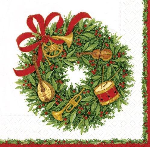 Caspari Paper Napkins 10270C Musical Wreath Cocktail Napkins (Musical Wreath)