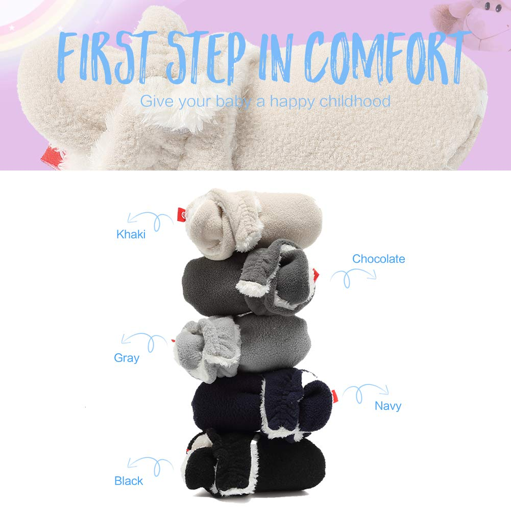 EQUICK Baby Cozy Fleece Booties with Non Skid Bottom Woolen Style