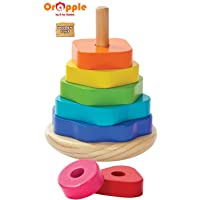 Orapple Wooden Shape Stacker Rings Toys for Babies/Kids for Boys & Girls of 1,2,3,4 Years Old Age (Multicolor)