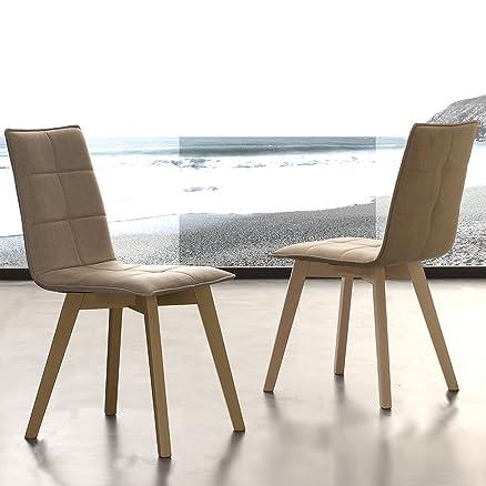 set 4 sedie imbottite in cotone e legno soggiorno cucina moderne ... - Sedie Soggiorno Imbottite