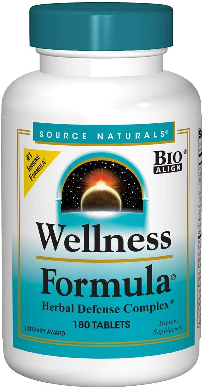 Source Naturals Wellness Formula Bio-Aligned Vitamins Herbal Defense – Immune System Support Supplement Immunity Booster – 180 Tablets