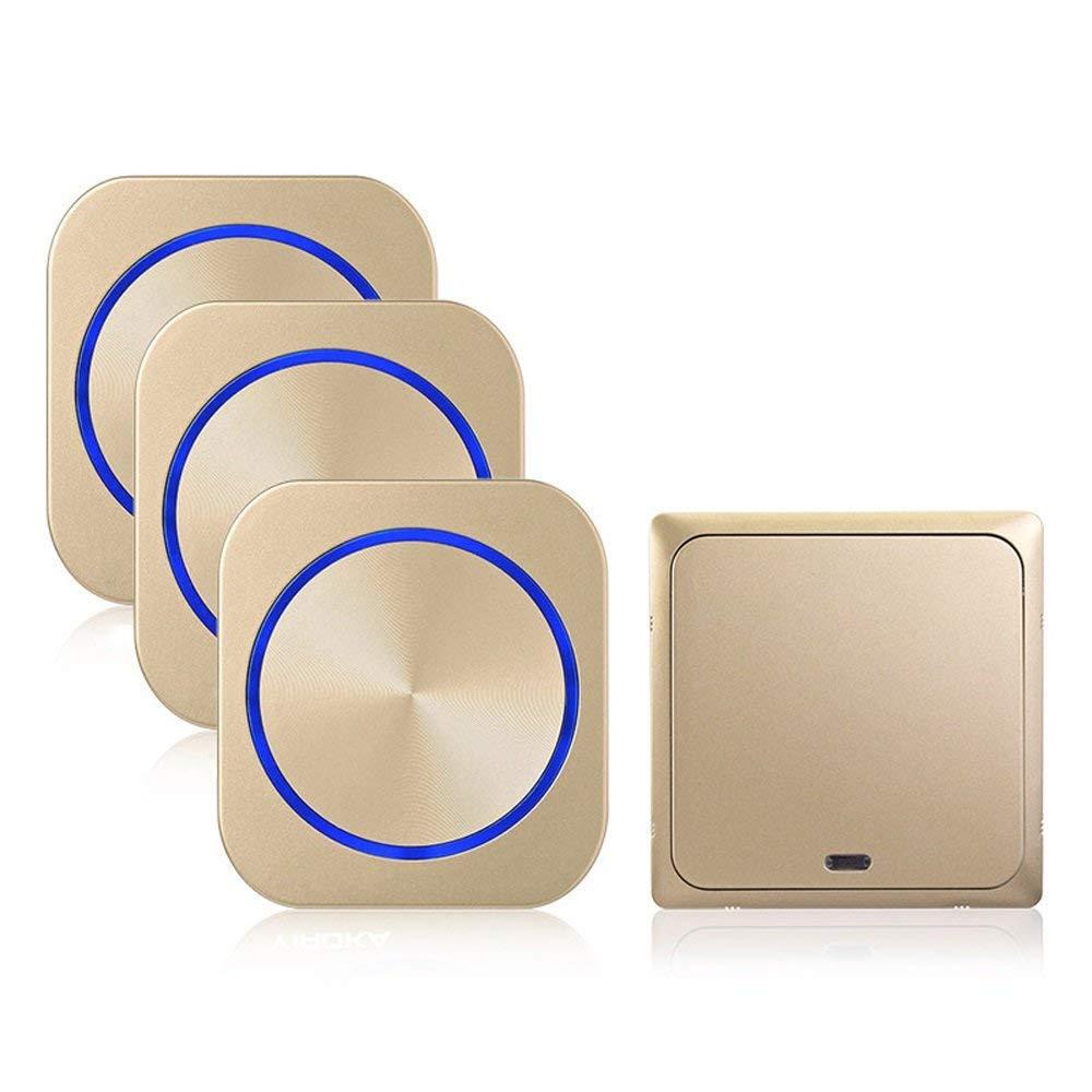 Zmsdt Türklingel Wasserdichtes Türklingel-Set Kabellose Tür 1 Empfänger und 1 Tastensender mit einstellbarem Volumen Türklingel (Farbe   Gold, größe   1+3)