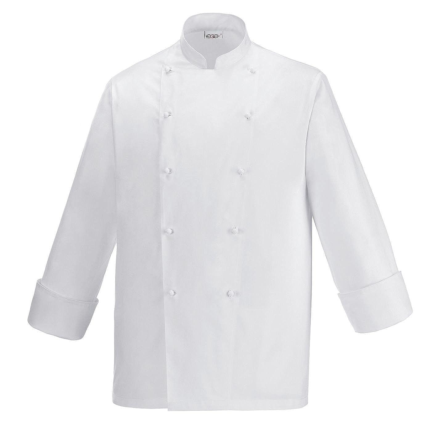 EGOCHEF Giacca da Cuoco Bianca SECURITY - 100% Cotone - Marca Italiana Ottima vestibilità, bottoni antipanico estrabili inclusi, cotone morbido leggero e avvolgente, perfetta anche per studenti B01N0IOPTY