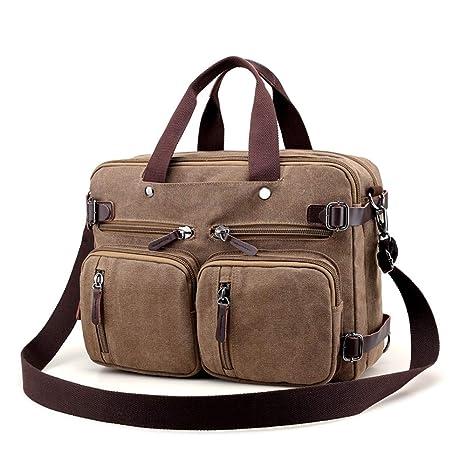 a9804d11d0c2 Canvas Laptop Backpack Messenger Bag Shoulder Bags Convertible Handbag  Business Briefcase Multi-Functional Travel Rucksack 15 Inch -Coffee