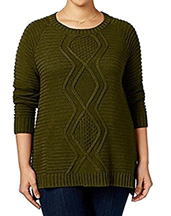 f55f061a7d Amazon.com  NY Collection Women Plus Cable Knit Scoop Neck Sweater ...