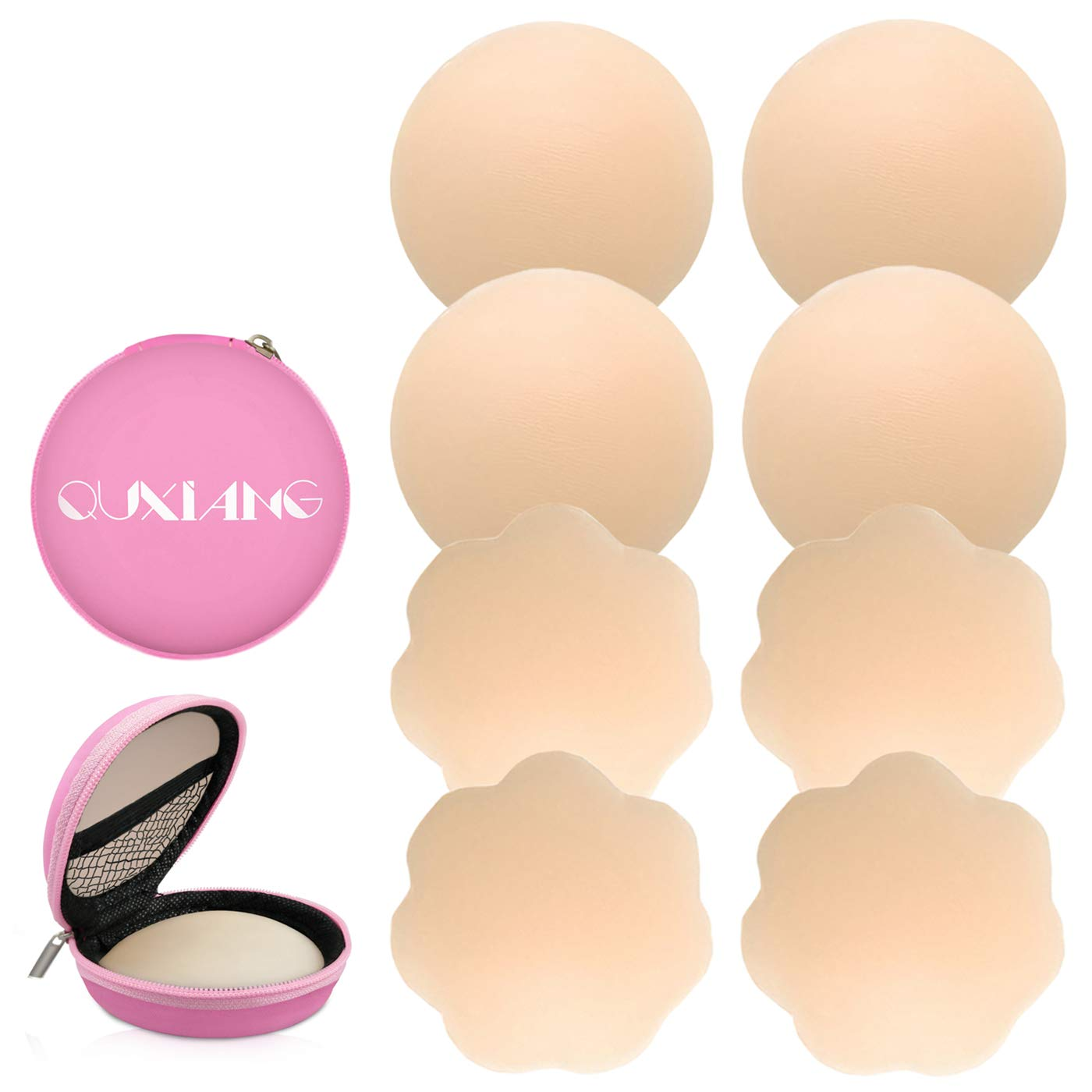 2 Round+2 Flower QUXIANG 4 Pairs Pasties Women Nipple Covers Reusable Adhesive Silicone Nippleless Covers