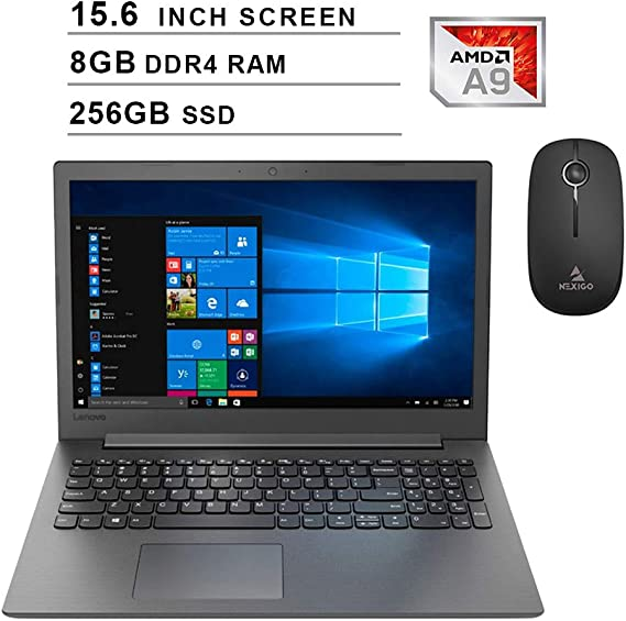 2020 Lenovo IdeaPad 130 15.6 Inch Laptop| AMD A9-9425 up to 3.70 GHz| 8GB DDR4 RAM| 256GB SSD| WiFi| Bluetooth| DVD| Windows 10 Home S + NexiGo Wireless Mouse