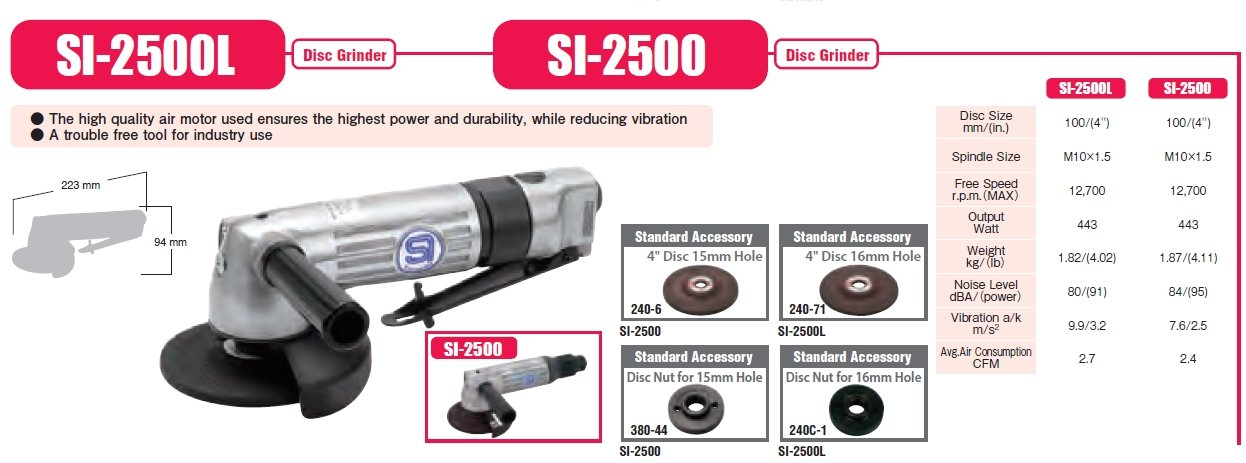 SHINANO SI-2500L 100MM GOVERNED PNEUMATIC (AIR) ANGLE GRINDER 11000RPM LEVER THROTTLE