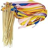 Hangnuo Lot de 30baguettes de fée avec serpentins en rubans de soie et clochettes pour mariage/Noël/fête d'anniversaire