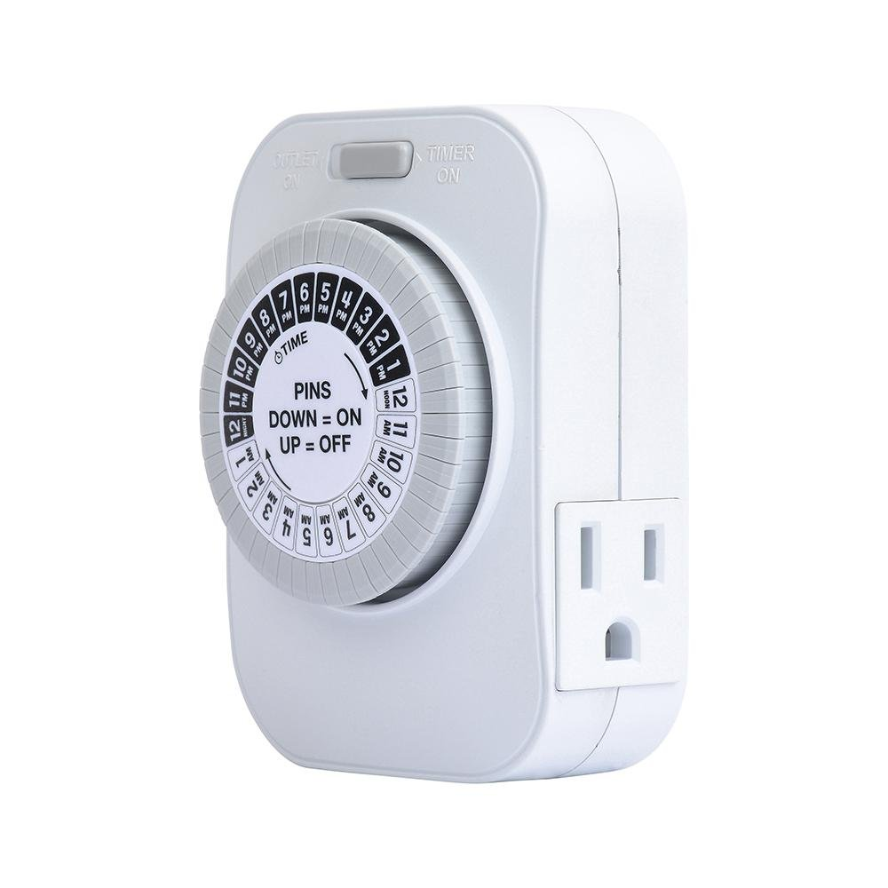 24 Hour Daily Programmable Timer Two Grounded Outlet Indoor Home Security Switch Automatic Christmas Light