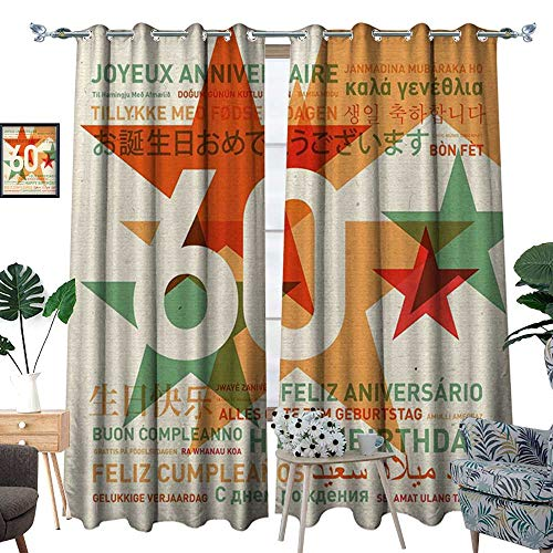 60th Birthday Blackout Window Curtain World Cities Birthday Party Theme with Abstract Stars Print Customized Curtains Green Vermilion and White