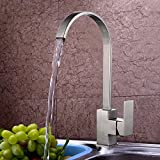 KES L6255C Modern Square Single Lever Lead-Free Kitchen Faucet with High Arc Swivel Spout, Brushed SUS304 Stainless Steel